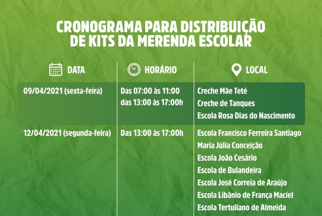 Prefeitura e Secretaria de Educação, informam cronograma de entrega dos kits da merenda escolar