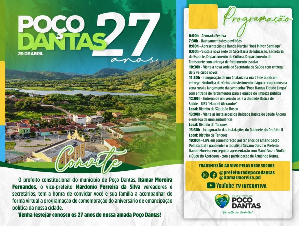 Prefeitura de Poço Dantas celebrará aniversário da cidade com inaugurações, entrega de ações e live especial